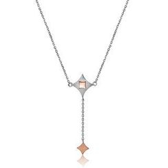 MBLife.com - Left Right Accessory - 925 Silver Two Tone Diamond Shape Kite Dangle Necklace (16')