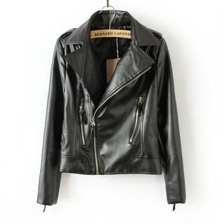 Flower Idea - Faux-Leather Biker Jacket