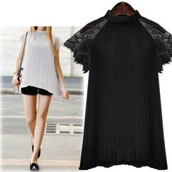 Coronini - Short-Sleeve Lace Panel Pleated Top