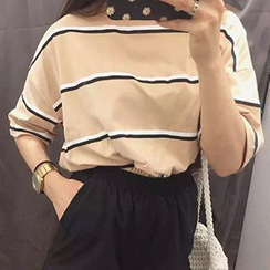 Dute - Striped Elbow Sleeve T-Shirt