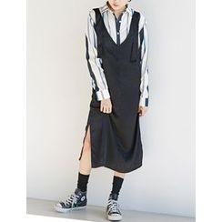 FROMBEGINNING - Sleeveless Satin Long Dress
