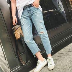 Jinggu Studio - Distressed Cropped Jeans