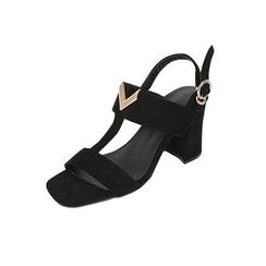 DABAGIRL - Metal-Accent T-Strap Chunky-Heel Sandals