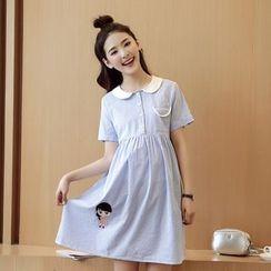 Mamaladies - 短袖孕婦圓領條紋純棉連衣裙