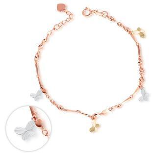 MaBelle - 14K Italian Tri Color Yellow Rose White Gold Diamond-Cut Butterfly Charm Bracelet, Women Girl Jewelry in Gift Box
