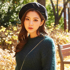 chuu - Crew-Neck Furry Rib-Knit Sweater