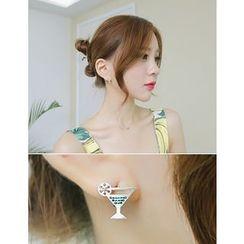soo n soo - Cocktail Glass Stud Earrings