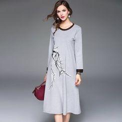 Queen Mulock - Long-Sleeve Printed Dress