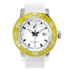 t. watch - Stainless Steel Water Resistant Watch - White/Yellow