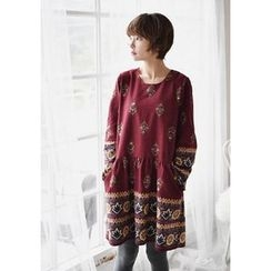 GOROKE - Puff-Sleeve Shirred-Waist Patterned Dress
