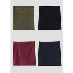 J-ANN - Corduroy Elastic-Waist Skirt