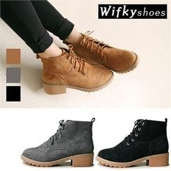 Wifky - Genuine-Leather Lace-Up Ankle Boots