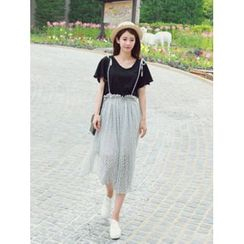 LOLOten - Suspender Patterned Chiffon Midi Skirt