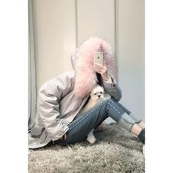 ATTYSTORY - Drawstring-Waist Faux-Fur Hooded Coat