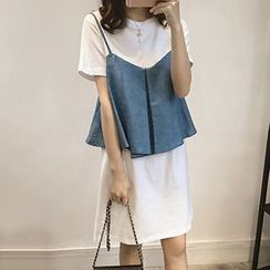 Little V - Mock Two Piece Denim T-Shirt Dress
