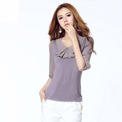 O.SA - Layered-Collar Elbow-Sleeve Top