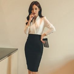 Queen Bee - Long-Sleeve Mock Two-Piece Sheath Dress