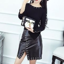 lilygirl - Set: Beaded Long Sleeve Top + Faux Leather Skirt