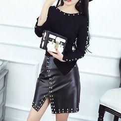 lilygirl - 【實拍】實價新款重工釘珠時尚T恤加包臀pu皮裙套裝