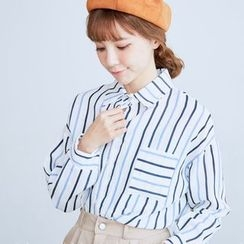 BAIMOMO - Long-Sleeve Striped Blouse