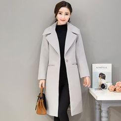 lilygirl - 2016冬裝新款韓範加厚毛呢外套女中長款廓形大衣寬松大碼顯瘦