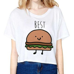 Omifa - 短袖印花短款T恤
