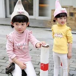 Merry Go Round - Kids Ruffle Trim Printed High Neck Long-Sleeve T-Shirt