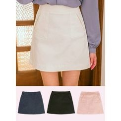 icecream12 - Pocket-Front A-Line Mini Skirt