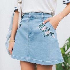 HotBlock - Embroidered Denim Skirt