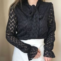 SUYISODA - Tie-Neck Lace Blouse