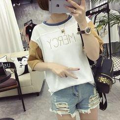 Ukiyo - Lettering Color Panel Elbow Sleeve T-Shirt