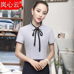 Skyheart - Ribbon Detail Short-Sleeve Dress Shirt / + Skirt