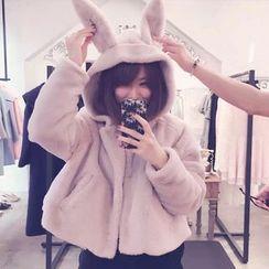 lilygirl - Rabbit Ear Faux Fur Hooded Jacket