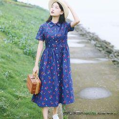 sansweet - Short-Sleeve Printed Midi Dress