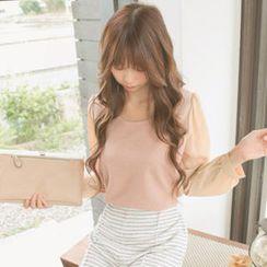 Tokyo Fashion - Knit-Panel Chiffon Blouse