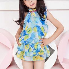 Charmaine - Kids Set: Floral Print Swimdress + Cover-up