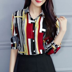 Cobogarden - Patterned Long-Sleeve Chiffon Blouse