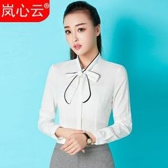 Skyheart - Bow Neck Blouse / Set: Bow Neck Blouse + Pencil Skirt / Set: Bow Neck Blouse  + Dress Pants