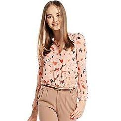 O.SA - Long-Sleeve Patterned Chiffon Shirt