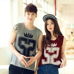Evolu Fashion - Couple Print Knit Tank Top