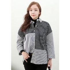 Dalkong - Asymmetric-Striped Shirt