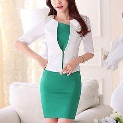 Princess Min - 套裝:中袖西裝外套 + 塑身連衣裙