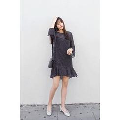 CHERRYKOKO - Set: Ruffle-Hem Dotted Chiffon Dress + Slipdress