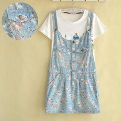 P.E.I. Girl - Floral Denim Jumper Skirt