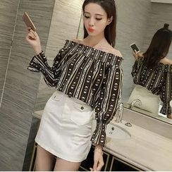 HazyDazy - Patterned Off Shoulder Long Sleeve Chiffon Top