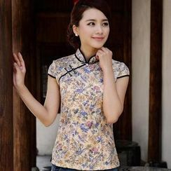 Miss Four Qipao - Cap-Sleeve Mandarin Collar Floral Top