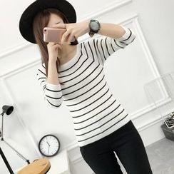 Mioni - Striped Knit Top