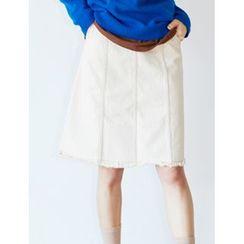 FROMBEGINNING - Stitched Denim A-Line Skirt