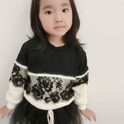 Happy Lala - Kids Fleece-Lined Lace-Panel Pullover