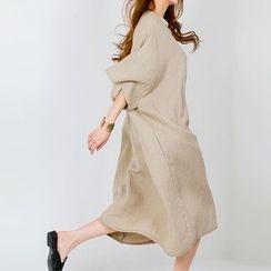 FASHION DIVA - Drop-Shoulder Linen Blend Long Dress